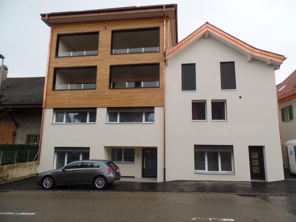Démolition partielle du rural et aménagement de 8 appartements avec couvert semi-enterré à Chavornay